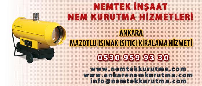 Ankara Mazotlu Isımak Isıtıcı Kiralama Hizmeti